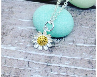 Silver Daisy Necklace, Sterling Silver Daisy, Daisy Pendant, Sterling Silver, Daisy Charm, Silver, Gift, Gold, Ella Rose, Daisy Necklace,