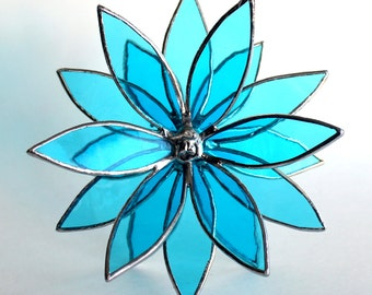 Stained Glass 18 Point 3D Flower - In Full Bloom - Choose Your Color