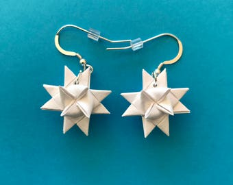 Moravian Star Earrings—White Shimmer