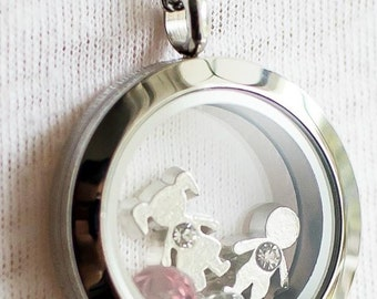25mm - 18 inches - Pendant + chain - Family necklace to customize - Stainless Steel - Figurines and stones purchased separetely - Olfee