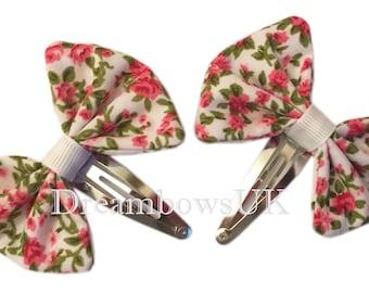 Pretty floral fabric hair bows on snap clips, girls floral hair accessories, Baby hair accessories, little girls hair bows, hair slides