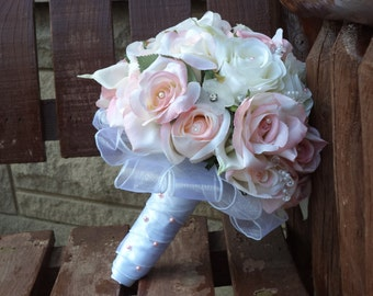 Blush Pink and White Silk Bridal Bouquet / Silk Wedding Flowers / Bling Bridal Flowers / Budget Bridal Flowers / Pink Wedding