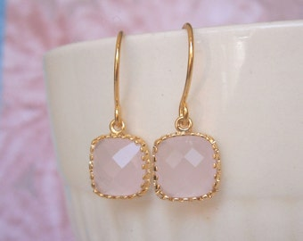 Blush Pink Earrings, Petite Earrings, Gold Earrings, Simple, Bridesmaid Earrings, Mom, Wife, Sister, Girlfriend