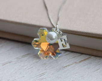 Crystal Snowflake Sterling Silver Necklace