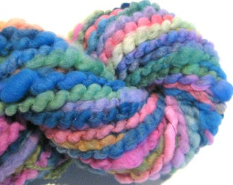 Super Bulky Handspun Yarn Where Have All The Flowers Gone 44 yards corespun spiral plied art yarn knitting supplies crochet Waldorf doll