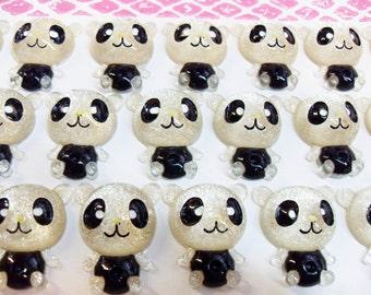 8x Cute Panda Cabochons