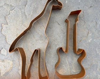 Vintage Large Copper Cookie Cutters Giraffe and Guitar Baking Collectibles