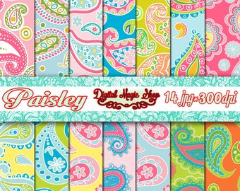 Multicolor PAISLEY Pattern Digital Papers Pack, Seamless - 14pcs 300dpi (paper crafts,card making,scrapbooking) Personal and Commercial use
