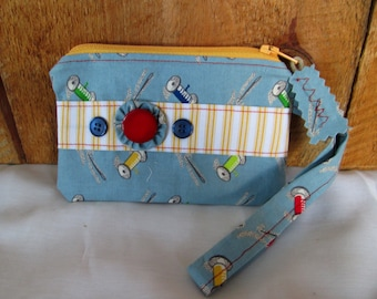 SALE!! New Price!! Vintage Look Fabric Thread and Needles Zippered Pouch With Wristlet