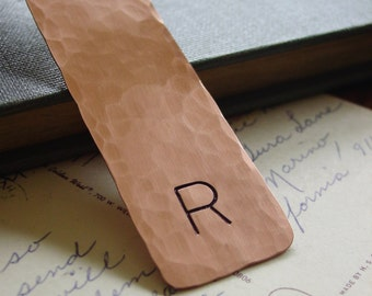 Initial Bookmark, Personalized Engraved Bookmark, Hammered Copper Gift,Custom Hand Stamped,Unique Bookmarks for Books,Corporate Gift,Engrave