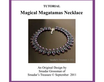 Beading Tutorial, Magical Magatamas Necklace. Beading Pattern with Miyuki Long Magatama and Crystal Beads. Beadweaving Instructions PDF File