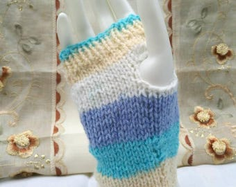 Blues, yellow and white striped wrist warmers