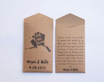 50+ Alaska Rustic Custom Seed Packet Wedding Favors - Rustic Kraft Seed Packet Envelope - Alaska State Wedding Favor - Many Colors Available