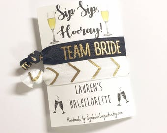 Bachelorette Party Favors, Sip Sip Hooray Bachelorette Party Favor Hair Ties, Bachelorette Hair Tie Favors, Team Bride Party, Wedding Favor