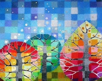 Backyard with Stars art print, with handpainted silver and gold details, autumn trees, colourful geometric art, starry night