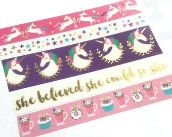 Unicorn Washi Tape, Cupcake Washi Tape, Unicorn Planner, Milkshake, She Believed She Could So She Did, Gold, Pink, Purple, Donuts, White