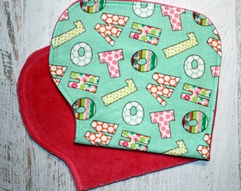 Burp Cloth Baby Shower Gift Set of Two Contoured Burp Cloths, Burp Rags Gift for Girl Letters Flannel Fuchsia Cotton Velour Absorbent