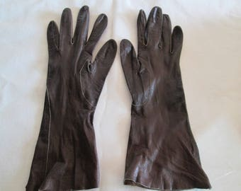 1950's brown womens leather gloves Alexelle size small 6 1/2