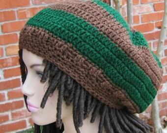 Green Brown dreadlocks hat, slouchy beanie, Hippie Dread beanie, Beret Tam, slouchy hat, woman or man beanie, handmade