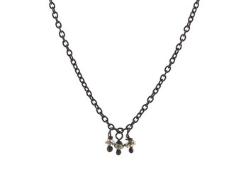 Champagne Diamond Bead Fringe Necklace in Oxidized Sterling Silver with Three Diamonds