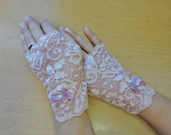 Fingerless Gloves Dusty Pink Salmon Stretch Lace
