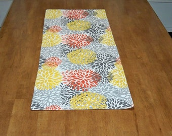 "HDTR-8   37""x14"" Cotton Duck table runner featuring colorful Mum's"
