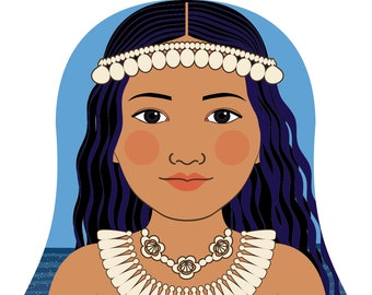 Marshallese Wall Art Print featuring culturally traditional dress drawn in a Russian matryoshka nesting doll shape