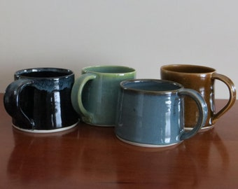 Small Cup Mug Handmade Demitasse Cappuccino Latte Pottery Porcelain Stoneware Coffee Black Blue Green Tea Cup Holds 6 Ounces