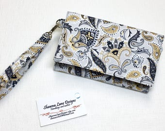 women's cell phone wallet, wristlet, wallet with strap, black gray floral print wallet, small purse, errand runner, smart phone accessory