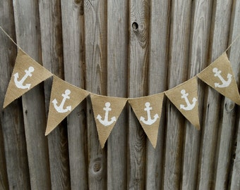 Anchor Banner Nautical Banner Birthday Banner Beach Party Banner Beach Garland Wedding Banner Beach Decor  Beach Anchor Decor Nautical Decor