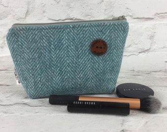A stunning Harris Tweed cosmetic bag in a Limited edition pale turquoise herringbone harris tweed , cosmetic pouch, Harris tweed purse.