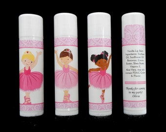 Ballerina Party Favors - Lip Balm - Lip Balm Favors - Personalized - Vanilla Lip Balm - Pink - Girl's Party Favors - Thank You Gift