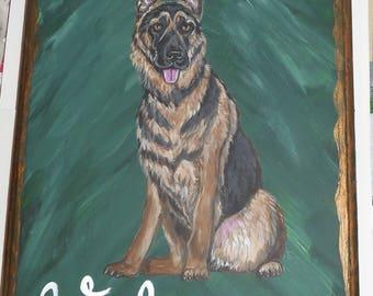 German Shepherd Dog Custom Painted Welcome Sign Plaque Wall decor Home decor