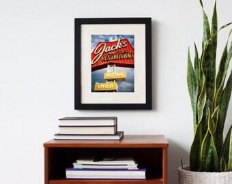 Jack's Whittier Restaurant Neon Sign Print | Retro Kitchen Decor | Diner Decor | Coffee Shop Sign | Los Angeles Wall Art | Restaurant Sign