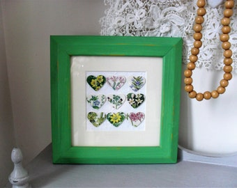 Heart Picture HANDMADE Collage Floral Paper Hearts Punched Hearts Vintage Botanical Images Hand Painted Frame Chalk Painted Shabby Chic Art