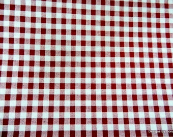 One Yard Cut Quilt Fabric, Cranberry Red and off White Gingham, Cotton Fabric, Sewing-Quilting-Craft Supplies