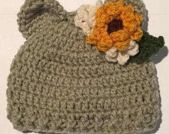 Wildflower bear hat crochet pattern