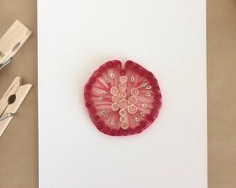 Quilling Paper Tomato Slice for Home Decor, Vegan Art, Vegetarian Art, Food Lover Gift, Chef Gift, Tomato Design, Art of Paper Quilling