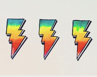 Ziggy Stardust Lightning Bolt print - handpainted A4 on heavy parchment