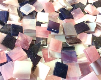 100  MIXED Pink PURPLE & LAVENDER Odd Size Tiles Stained Glass B17
