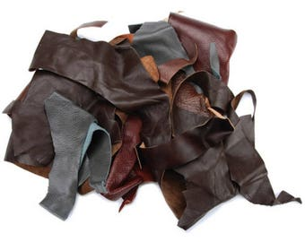 One Pound Leather Scrap Bag Brown