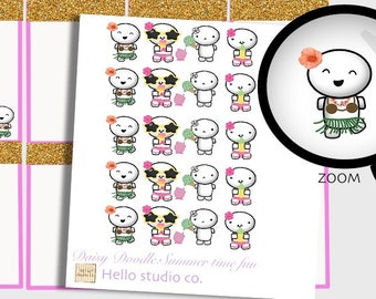 Summer time planner stickers Summer time fun stickers Doodle Stickers Emoti Stickers