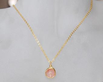 Pink Coral Necklace , Bridesmaid Necklace , Cherry Quartz Necklace, Light Pink Necklace