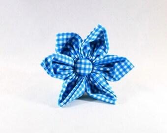 Preppy Aqua Blue Gingham Girl Dog Flower Bow Tie