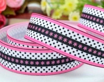 Printed grosgrain Ribbon * 22 mm * star dots GLAMOUR Black Rose - sold by the yard