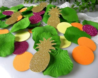 Tropical Party Table Decoration / Pineapple Flamingo Fiesta / Luah Hawaiian Baby Shower / Centerpiece / Artificial Rose Petals Confetti /