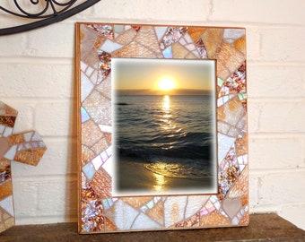 8x10 Beach Wedding Picture Frame, Beige White Picture Frame, Glass Mosaic Frame, Coastal Wedding Gift, Beach Glass Frame