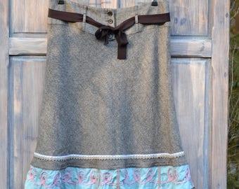 upcycled clothing Boho Funky clothing skirt Eco Artsy apron Bohemian Wearable Art eco clothing