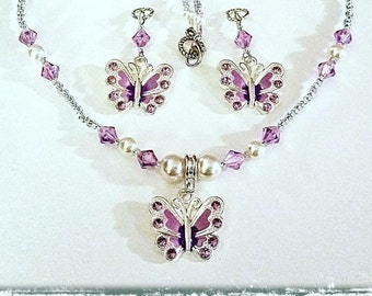 Beaded Necklace and Set:  Dainty Glass Beaded Necklace with Rhinestone Butterfly Pendant (available in several color options)!