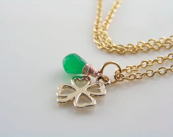 Rose Gold Necklace with Green Onyx, Wire Wrapped Necklace with Good Luck Charm, Four Leaf Clover Necklace, Good Luck Jewelry, N1197